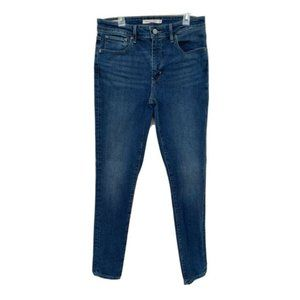 LEVI'S Big E 721 Premium High Rise Skinny Stretch Blue Denim Jeans Womens 29x30
